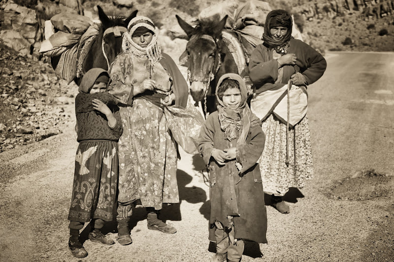 Photo: Berber family with mules in the Todra Canyon, Morocco.