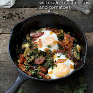 Baked Eggs with Kale, Mushrooms and Tomatoes Recipe