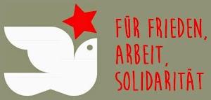 Friedenstaube mit rotem Stern, «Für Frieden, Arbeit, Solidarität».