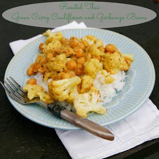 Roasted Thai Green Curry Cauliflower and Garbanzo Beans.