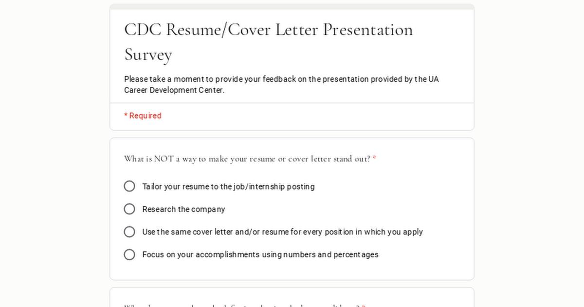 CDC Resume/Cover Letter Presentation Survey