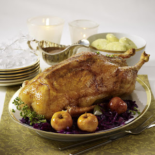 Roast Goose with Apples, Red Cabbage and Gravy.