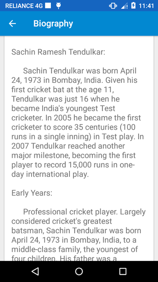 sachin tendulkar biography android apps on google play sachin tendulkar biography screenshot