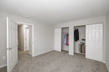 Bedroom with light brown carpet, light gray walls, and large closet