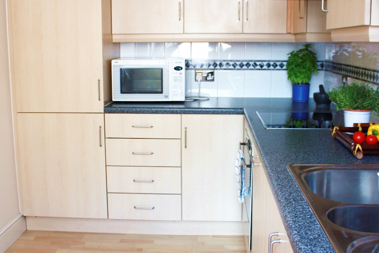 Fully equipped kitchen at Astral House in Liverpool Street