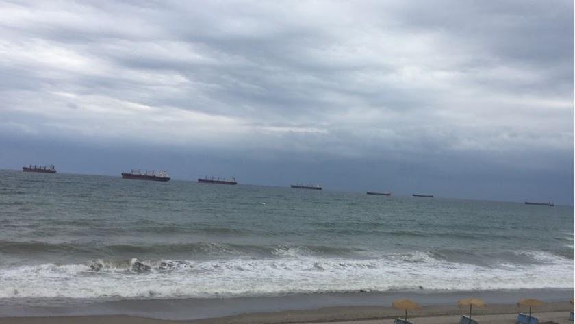 Aunque en la imagen se ven siete, a media mañana de ayer llegaron a juntarse ocho vapores esperando turno para cargar mineral.
