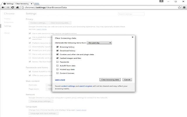 Chrome Data Cleaner