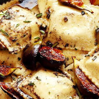 Caramelized Figs and Ravioli with Rosemary Brown Butter & Crispy Prosciutto.