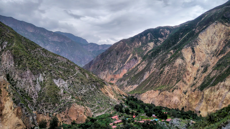 colca canyon as seen from inside the colca canyon in arequipa peru