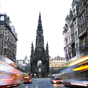 Edinburgh in motion by Lorraine Paterson - City,  Street & Park  Historic Districts ( buses, scott monument, edinburgh, movement, photography )