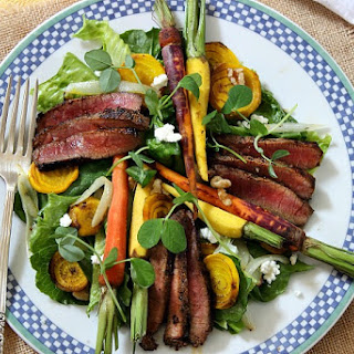 Peppercorn Steak Salad with Maple Roasted Carrots and Golden Beets.