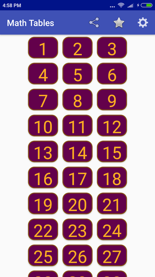 Maths Multiplication Tables- screenshot