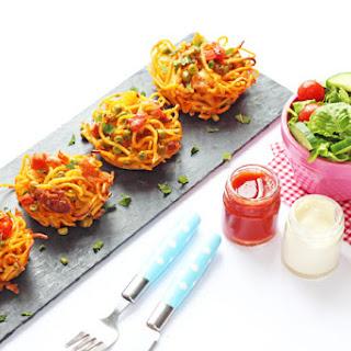 Leftover Spaghetti Bolognese Nests.