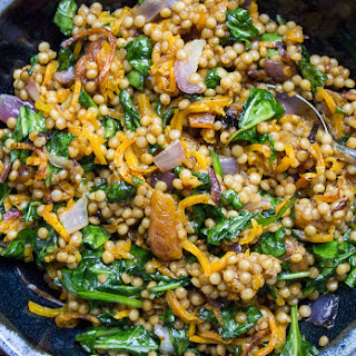 Spiced Israeli Couscous with Vegetables and Apricots.