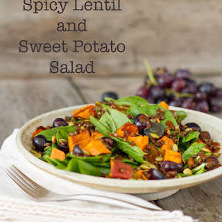 Spicy Lentil and Sweet Potato Salad with Chipotle Vinaigrette Dressing.