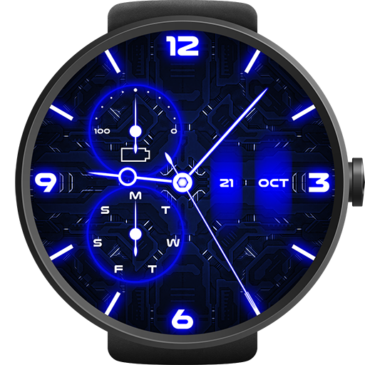 Neon Blue Watch Face Icon