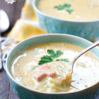 Slow Cooker Farmhouse Ham and Cheddar Soup.