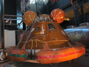 "Photo: Apollo boilerplate Command Module ""wearing"" the Apollo 11  flotation collar and post-splashdown air bags"