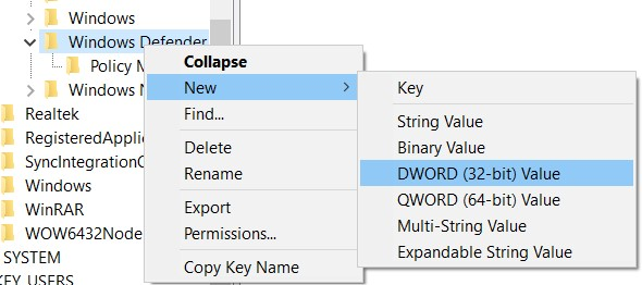 Contexts menu route to create a DWORD (32-bit) key value