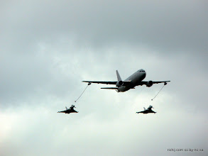 Photo: Italian Air Force KC-767A teasing two Typhoons: a home-country EF2000 and an RAF FGR4