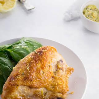 Crispy Skinned Lemon Chicken with Rosemary Garlic Finishing Salt.
