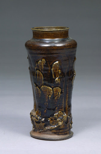 Flower vase with ame (yellowish brown) glaze, Black Satsuma Ware