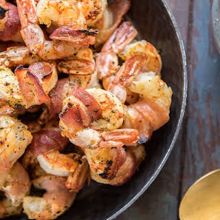 Bacon Wrapped Shrimp with Remoulade Sauce.