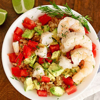 Shrimp Avocado Brown Rice Bowl.