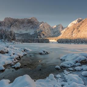 Morning on lake by Bor Rojnik - Landscapes Mountains & Hills ( new day, winter, slovenia, landscape photography, reflections, lake, sunrise, landscape, morning, italy )