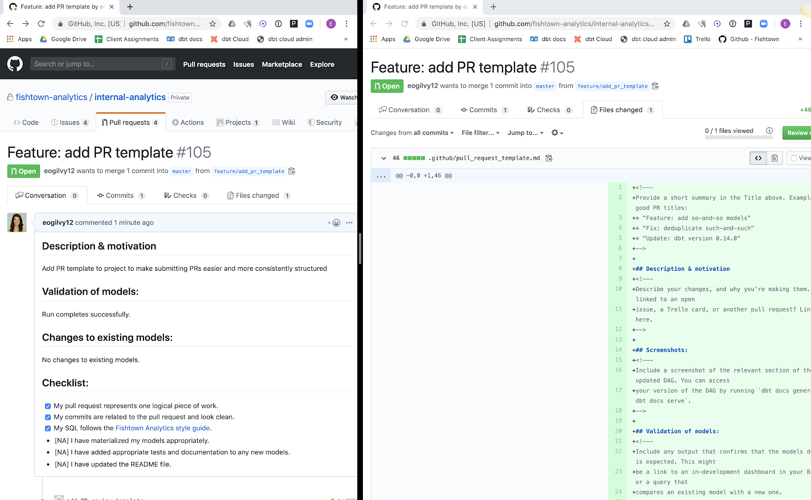 "Left side: New feature being added named ""Feature: add PR template"". Right side: GitHub is open  to files changed tab"