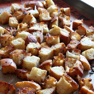 Homemade Garlic Butter Croutons.