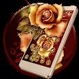 Golden Red Luxury Rose Theme apk