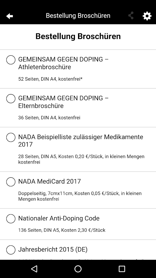 NADA App – Screenshot