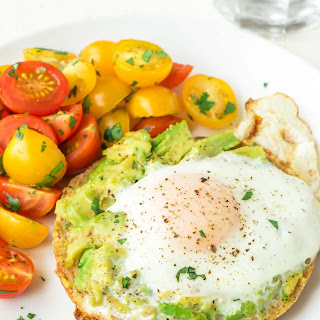 Bagel Egg in a Hole with Smashed Avocado.