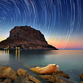 Monemvasia by Dimitrios Lamprou - Travel Locations Landmarks ( exposure, d800, sea, monemvasia, long, rocks, startrails )