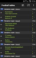 Screenshot of Football Leagues Tables