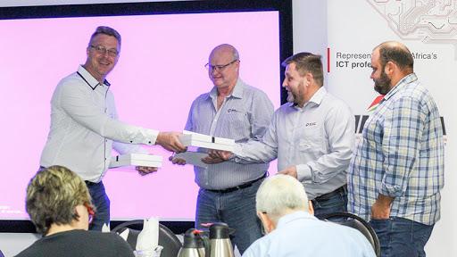 The IITPSA's Johan Steyn, with speakers Craig Boshoff, Pieter Pienaar and Gerhard van Wyk.