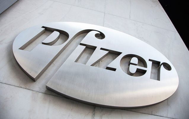 The Pfizer logo at their world headquarters in New York, the US. Picture: REUTERS/ANDREW KELLY