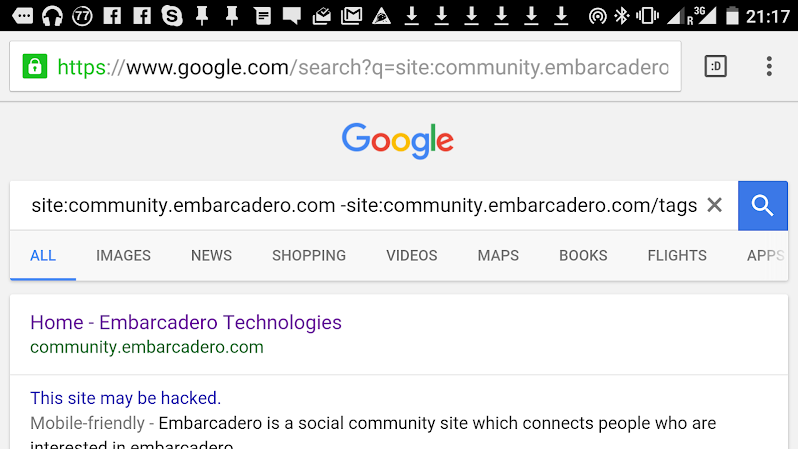 Even Google thought the community site could be hacked - image by myself