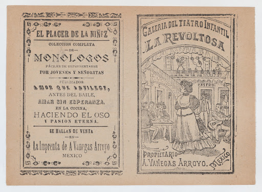 Cover for 'La Revoltosa', a woman standing in the middle of a saloon surrounded by people playing games and music