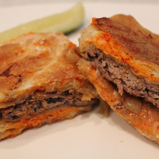Patty Melt Burger with Red Pepper Aioli