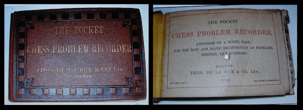 Photo: The above images are taken from an item that appeared on eBay UK, September 2011 - 'The Pocket Chess Problem Recorder'.   The DLR family firm had already incorporated by 1899 as Thos.De La Rue & Co, Ltd.   According to the DLR website -  http://www.delarue.com/timeline/index.html - their history/time-line shows the incorporation as having taken place in 1896. The DLR group accounts indicate that the present group holding company is fairly newly incorporated, resulting from a group reorganisation in 2000; however, it mentions a subsidiary holding company, De la Rue Holdings plc reg.no.58025. I originally thought it likely to be the original DLR company, as an earlier name for it was The De La Rue Company Plc): a check with the Registrar of Companies shows that this company was incorporated on 1 July 1898.  From this, I wonder whether 1902 has any special relevance, and whether 'TDLR' - and not 'DLRL' - may well have been the original clasp stamp - which could make a little more sense of Jon's set.
