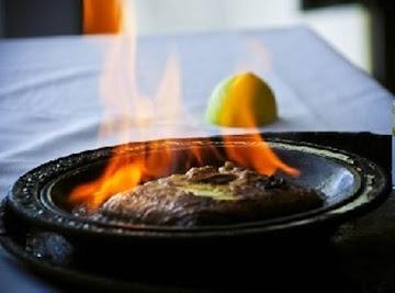 Saganaki  (flaming Greek Cheese)  Oompa! Dangerous And Delicious! Recipe