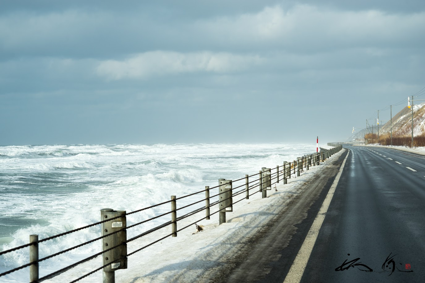 日本海沿いを走るオロロンライン