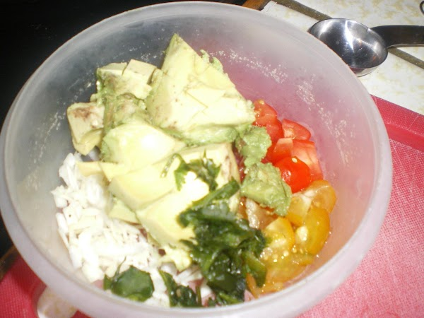 Combine ingredients for guac in another small bowl.  Cover tightly with plastic wrap...