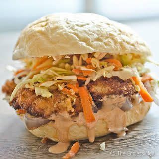 Oyster Po' Boy with Sweet Onion Relish, Chipotle Aioli and a Side of Sesame Slaw.