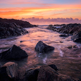 Boulders Alley by Matthew Wood - Landscapes Waterscapes ( waves, sunrise, seascape, ocean, rocks, color, beach, australia, long exposure )