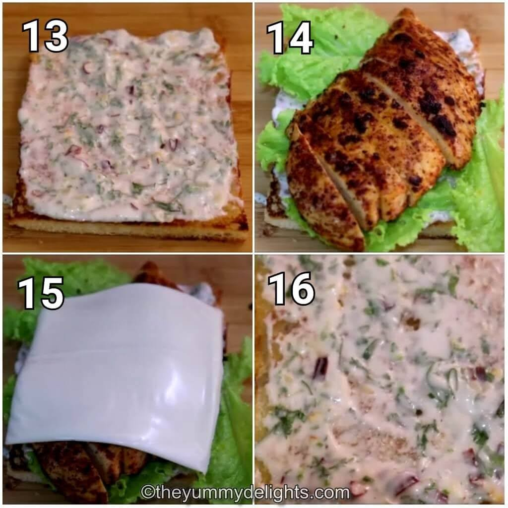 step by step image collage of assembling the chicken club sandwich