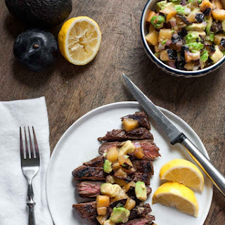 Balsamic Flank Steak with Plum and Avocado Salsa