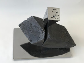 Photo: WEDGE IMPACTING RHOMBOHEDRON - 10H X 12W X 7D Lost Foam Iron Casting (as-cast and polished) and Polished Steel, Collaboration with Marilyn Block Ugiansky (View 2)